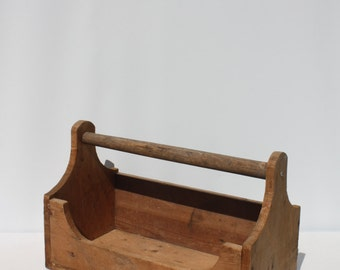 Vintage Wood Tool Box Tool Caddy Box Crate Tote Trug Picnic Storage Handle Rustic Primitive Country Farmhouse Harvest Table Christmas Decor