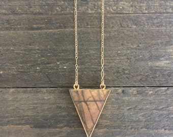 Labradorite Triangle Necklace // Gold Filled // Geometric