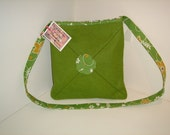 Green woollen shoulder bag, FREE UK shipping for December, proceeds to charity