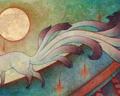 The Messenger / Fox Kitsune Spirit Yokai / Japanese Style / 8x10 Fine Art Print