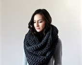 Extra Large Blanket Scarf. Huge Chunky Infinity Scarf. Oversized Shawl Hood // The Vienne - CHARCOAL