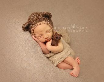 Teddy Bear Bonnet - Newborn Photo Prop, Bear Bonnet, Boy Bear Hat, Girl Bear Hat, Brown Bear Bonnet, Crochet Photo Prop