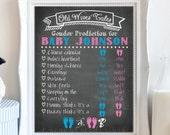 Chalkboard Gender Reveal - Baby shower Board - Printable - Baby Foot Prints