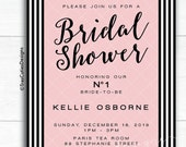 Bridal Shower Invitation - Pink Blush - Glamour - Black and Pink