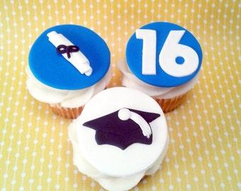 Fondant cupcake toppers  Graduation fondant, Graduation toppers, Graduation cupcake toppers, Graduate