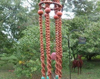 Extra large and long macrame hanging two planter pots vintage 70s decor wood beads