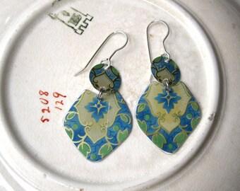 Blue Pattern Vintage Tin Lightweight Earrings-Sterling Ear Wires