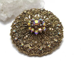 Round Antique Gold Filigree Brooch with Aurora Borealis Swarovski Crystals