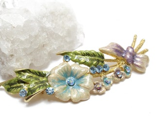 Enamel Flower Pin/Brooch with Swarovski crystals
