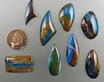 Cab, Cabochon, Peruvian Electric Blue Opal Handmade Cabochons