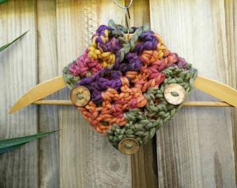 neck warmer/wrap, chunky crochet, button up, in purple, orange, green, pink & yellow, cowl, scarf, snood