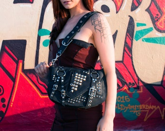Black and Silver Leather Studded Black Punk Rock Purse - ROGUE