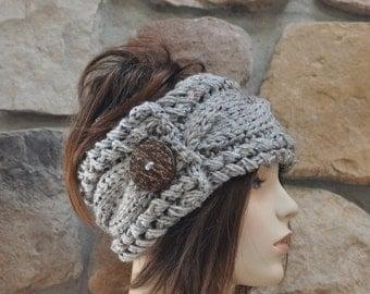 Earwarmer Cabled Ear Warmer Winter Crochet Headband Chunky Ear warmer CHOOSE COLOR Gray Marble Natural Warm Hair Band Christmas Gift