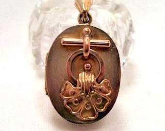 Antique Victorian Locket Pendant Original Tintype Photos Mourning Jewelry