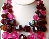 Chunky Vintage 3 Strand Necklace Bright Pinks & Reds