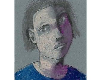 Woman portrait Face original drawing people pastel pencil