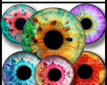 INSTANT DOWNLOAD  Colorful Eyes (788) 4x6 and 8.5x11 14mm circles Digital Collage Sheet glass tiles cabochon earrings images printable sheet
