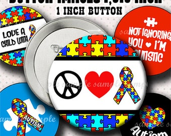 INSTANT DOWNLOAD Autism Awareness (793) Button Size Images 1,313 Inch ( 1 inch Button) Digital Collage Sheet for Badges Buttons ...