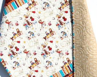 Cowboy Western Quilt, Retro Vintage Looking, Gender Neutral Blanket, Brown, Horseshoes Boots Roping Saddle, Boy or Girl Crib Bedding Quilt