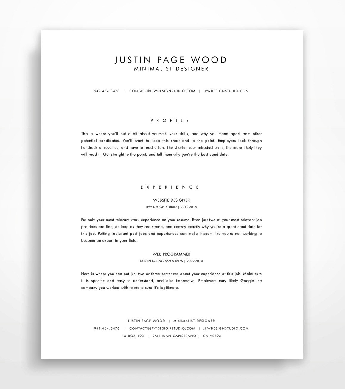 Resume Template Instant Download Professional Resume Minimalist