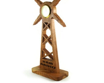 Ham Radio Tower Desk Or Shelf Clock Handmade From Cherry Wood By Kevskrafts