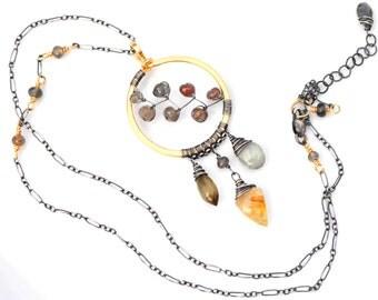 Artisan Dreamcatcher Necklace, Gold Rutilated Quartz, Andalusite & Aquamarine Circle Necklace, Gold Dreamcatcher Pendant Necklace