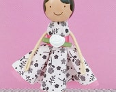 Ashley Miniature Wooden Clothespin Doll