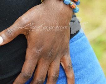 African Beaded Bracelet,Blue Layered bracelet,African jewelry