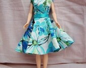 """Handmade 11.5"""" Fashion Doll Clothes. Full circle skirt dress with fully lined bodice."""