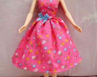 "Handmade 11.5"" Fashion Doll Clothes. Gathered skirt strapless strawberry pink dress"