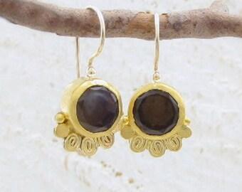 Gold Smoky Topaz  Earrings , 24k Gold Earrings with Smoky Topaz - Smoky Topaz Earrings - Ethnic Gold Earrings
