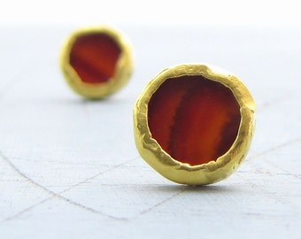 Gold Studs - Carnelian Studs - 24k Solid Gold Studs - Gold Post Earrings
