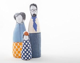 Family Portrait dolls - Parents & girl dolls, handmade soft sculpture dolls ,3-D family portrait , likeness dolls , look alike cloth dolls