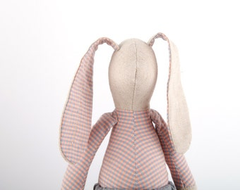 Softie Easter bunny doll stuffed Rag Doll - Plushie handmade fabric doll boy or girl gift - natural linen rabbit doll - pastel pink & gray