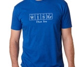 SALE! The WISER Than You Short-Sleeve T-Shirt - Periodic Table Men's Science Tee by Periodically Inspired (Heather Royal Blue)