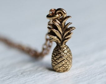 Pineapple Necklace Pendant Gold Brass Vintage