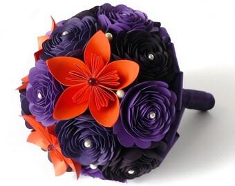 Handmade Flowers, Purple and Orange Wedding Bouquet, Autumn Bridal Bouquet, Orange Plum Bouquet, Purple Orange Bouquet, Purple Bouquet