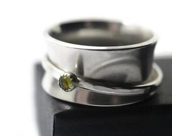 Spinning Gemstone Ring, Sterling Silver Womens Spinner Ring, Artisan Made Meditation Ring, 3mm Custom Gemstone