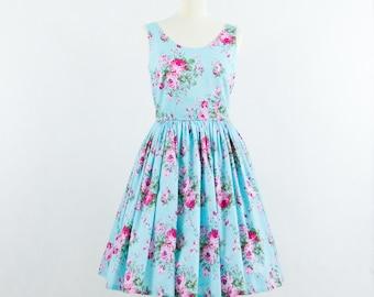 Custom made bridesmaid dress, cotton bridesmaid dress, floral dress, vintage inspired dress
