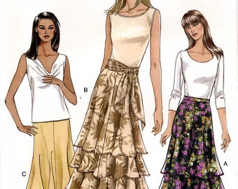 Vogue V8039 Sewing Pattern for Misses' Skirt and Sash - Uncut - Size 8, 10, 12, 14