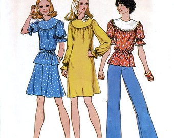 Simplicity 6796 Vintage 70s Misses' Short Dress, Short Two-Piece Dress or Top Sewing Pattern - Uncut - Size 10 - Bust 32.5
