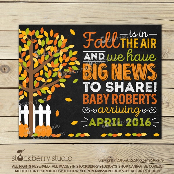 Fall Pregnancy Announcement Chalkboard Printable Fall Baby – Etsy Baby Announcements