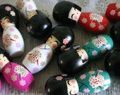 "WHITE Sakura chan - 1 Wooden Japanese Kokeshi doll (2.75""x1"" at widest points)"