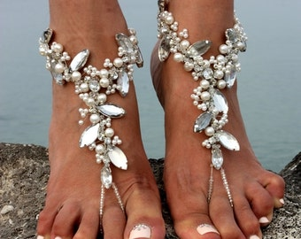 Beach Wedding Barefoot Sandals,Bridal Pearl Beaded Jewelry,Boho Slave Anklet,Soleless,Wedding Anklet,Bridesmaid Accessories,NAEVA design