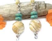 Shell and Turquoise Earrings, Beach Earrings, Natural Shell Earrings, Tan Blue Dangles, Ocean Inspired Boho Chic, Handmade Beach Jewelry