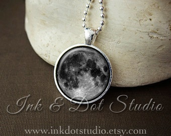 Full Moon Pendant, Moon Necklace, Moon Jewelry, Moon Glass Pendant