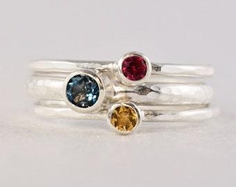 3 Gemstones, Narrow Set, Family & Mother's Rings, two 3mm and one 4mm Gemstones, Stacking rings, Sterling Silver, Christmas, custom made