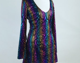 90's Psychedelic Neon Fractal Print Foil Mini Long Bell Sleeve Dress M - L