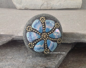 Blue and Gold 6 Shell Petal Flower -Mosaic Paperweight / Garden Stone