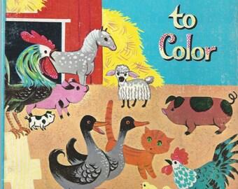 Farmyard Friends to Color Vintage Book, C1962
